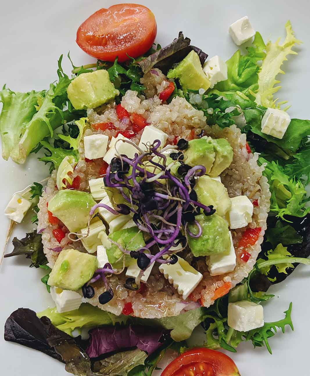Quinoa salad with avocado and feta cheese
